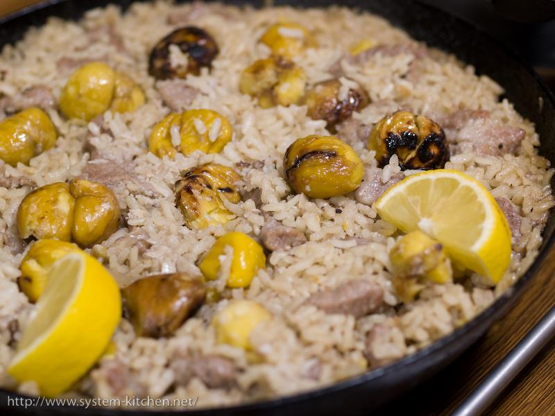 焼き栗と豚肉の洋風炊き込み御飯