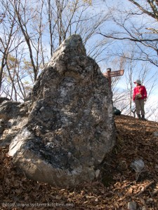 蕎麦粒山の頂上の岩